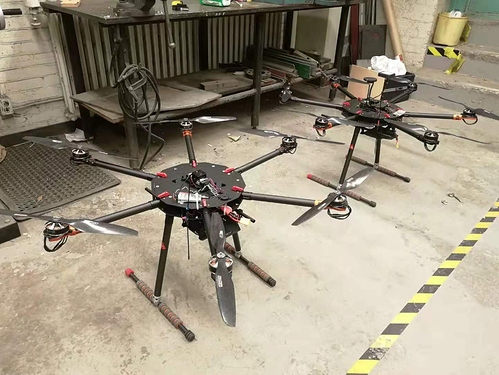 Taken in 2019, twin drones all equipped with black Cube